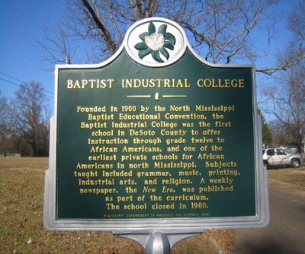 Baptist Industrial College Marker