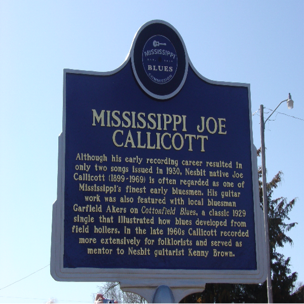 Joe Callicott Mississippi Blues Trail Marker and Gravesite
